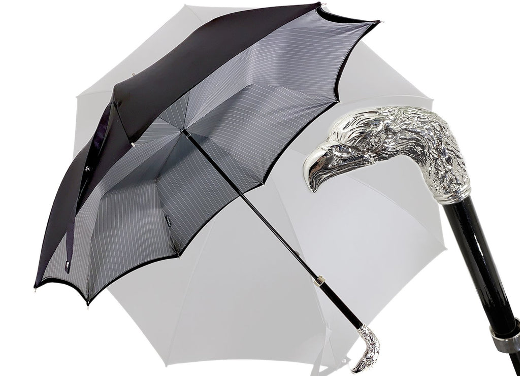 Double Cloth Men's Umbrella, Silver-plated Eagle - il-marchesato