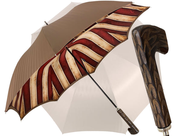 Tobacco Handmade Men's Umbrella - Striped Red And Cream - il-marchesato