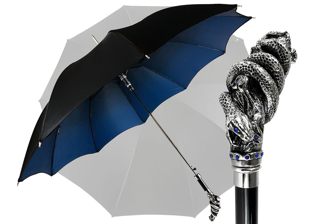 Premium double canopy with Snake handle and crystals - IL MARCHESATO LUXURY UMBRELLAS, CANES AND SHOEHORNS