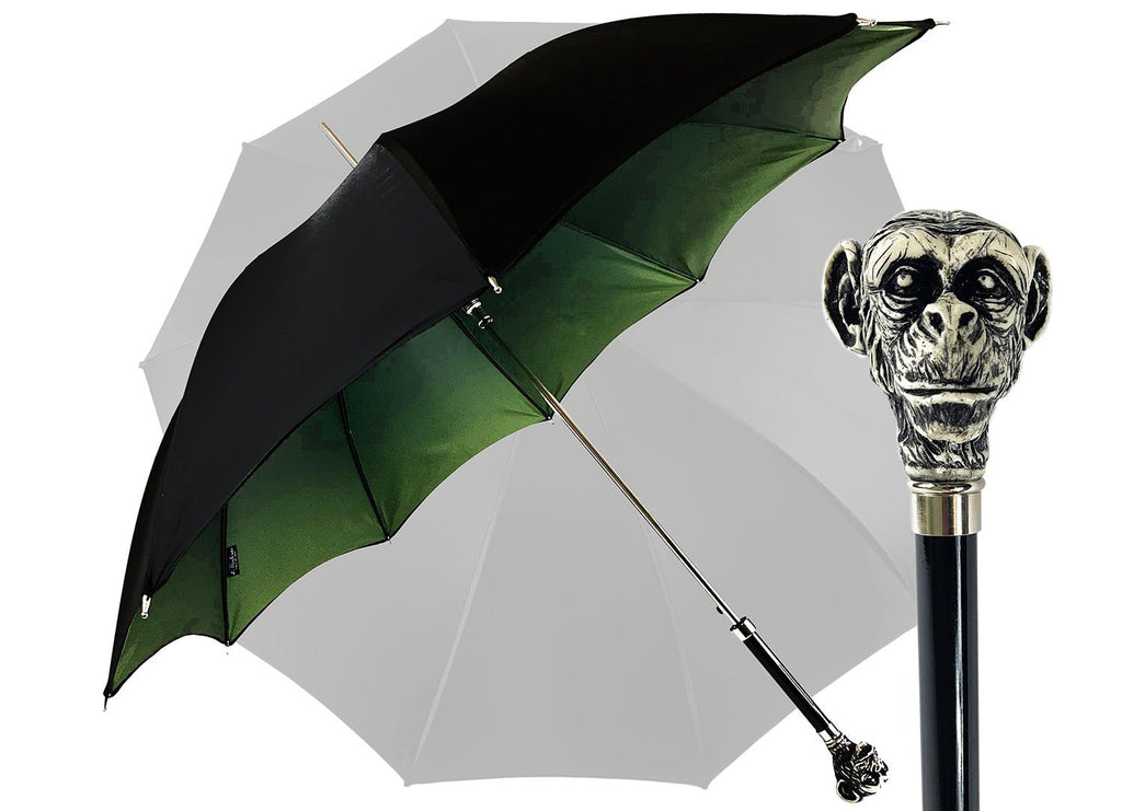 Exclusive umbrella with hand-painted monkey handle - IL MARCHESATO LUXURY UMBRELLAS, CANES AND SHOEHORNS