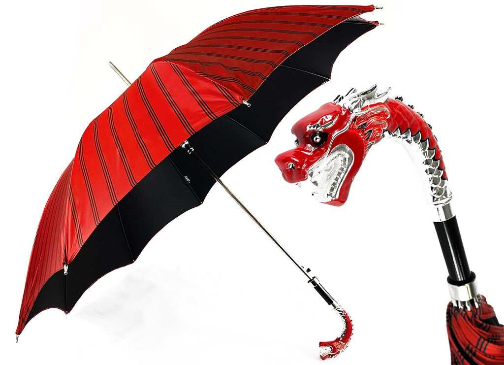 Wonderful umbrella with hand painted and silverplated 925 Dragon - IL MARCHESATO LUXURY UMBRELLAS, CANES AND SHOEHORNS