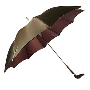 Double brown color with dots and burgundy inside - Handle with antique crocodile - IL MARCHESATO LUXURY UMBRELLAS, CANES AND SHOEHORNS