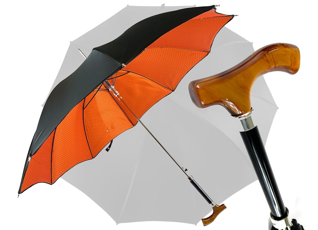 Double original and elegant umbrella with methacrylate handle - IL MARCHESATO LUXURY UMBRELLAS, CANES AND SHOEHORNS