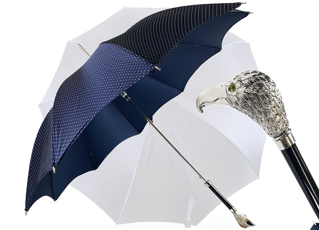 Elegant men's umbrella with silverplated hawk - IL MARCHESATO LUXURY UMBRELLAS, CANES AND SHOEHORNS