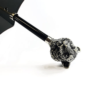 superb Umbrella with Hand-painted tiger - IL MARCHESATO LUXURY UMBRELLAS, CANES AND SHOEHORNS