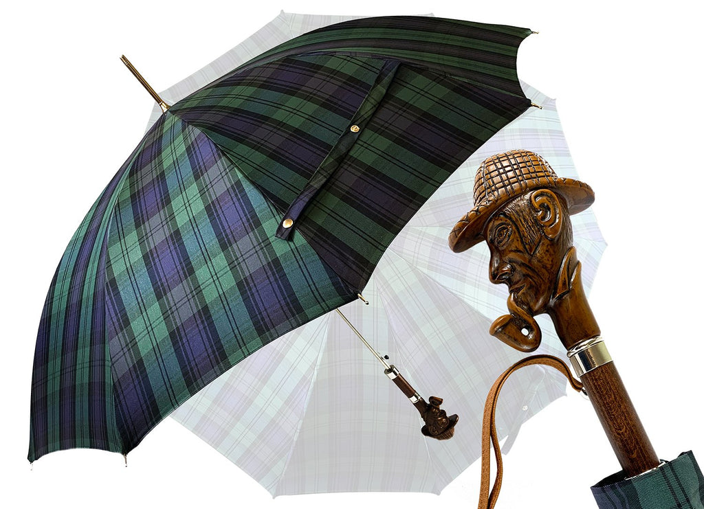 Limited Sherlock Holmes collection - Cotton Fabric - IL MARCHESATO LUXURY UMBRELLAS, CANES AND SHOEHORNS