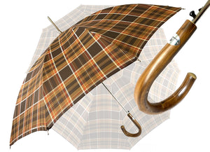 Brown Men's sporty Tartan umbrella - IL MARCHESATO LUXURY UMBRELLAS, CANES AND SHOEHORNS