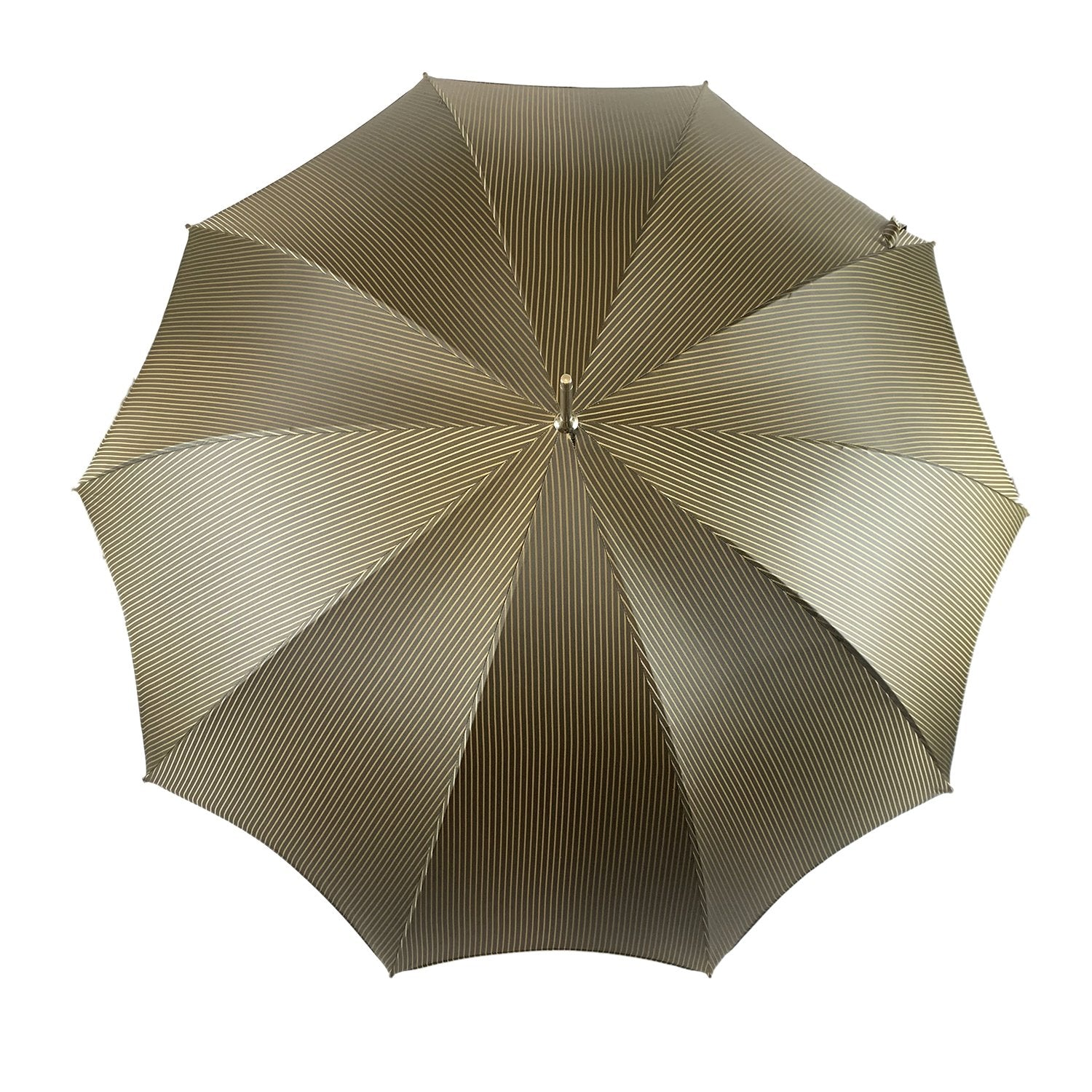 Gold&Brown striped umbrella - IL MARCHESATO LUXURY UMBRELLAS, CANES AND SHOEHORNS
