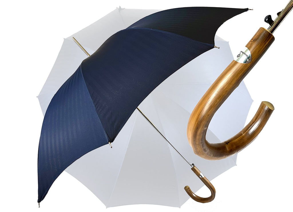 Elegant Navy blue Men's umbrella - IL MARCHESATO LUXURY UMBRELLAS, CANES AND SHOEHORNS