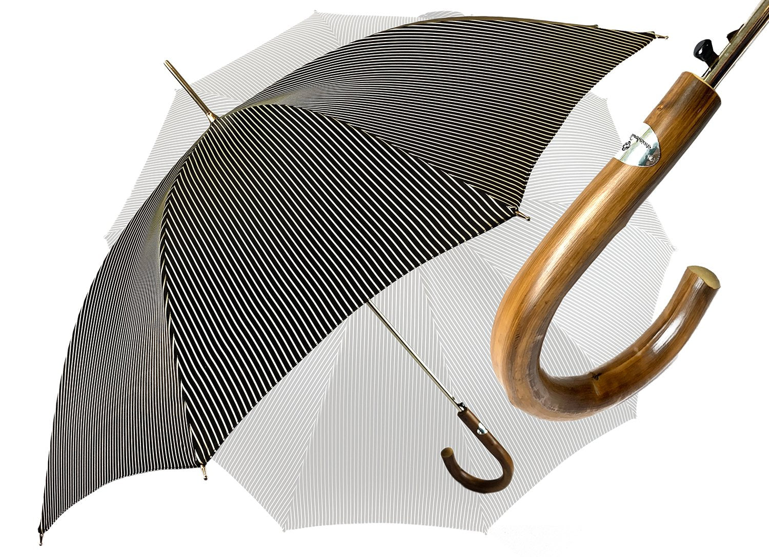 Black and White striped Classic Umbrella - IL MARCHESATO LUXURY UMBRELLAS, CANES AND SHOEHORNS