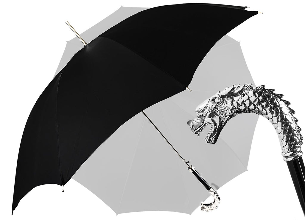 Fantastic Black umbrella for man with Silverplated Dragon - IL MARCHESATO LUXURY UMBRELLAS, CANES AND SHOEHORNS