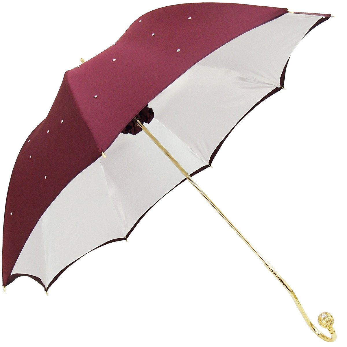 HIGH QUALITY DOUBLE CLOTH BURGUNDY CRYSTALS UMBRELLAS