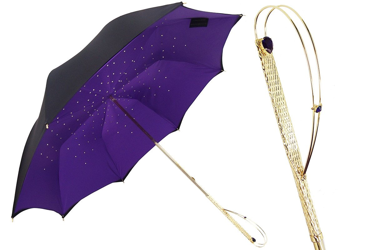 Il Marchesato luxury black-purple double cloth umbrellas - il-marchesato