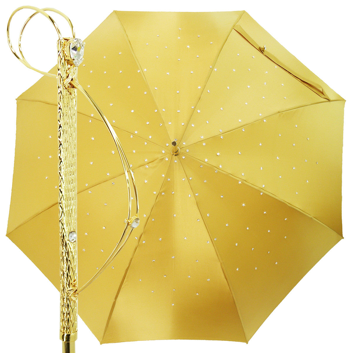 Yellow gold double cloth luxury Crystals umbrella