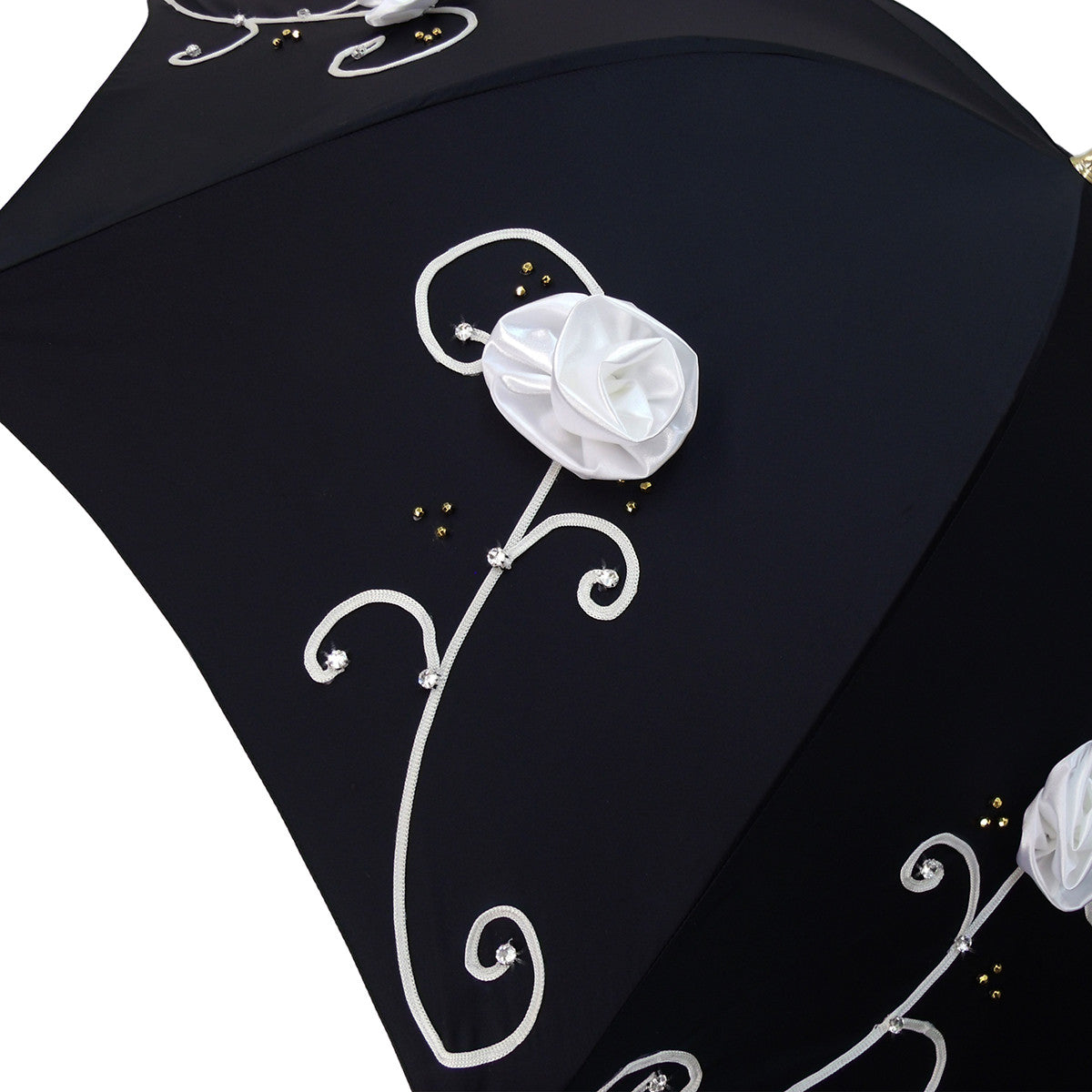 Umbrella With Double Cloth And Embroidered Flowers - il-marchesato