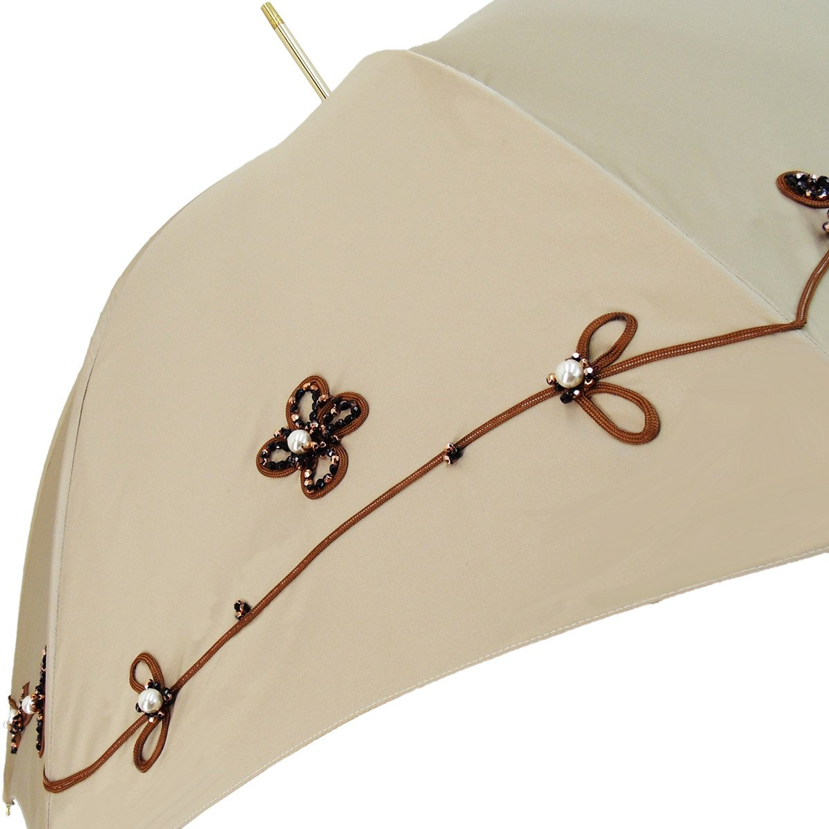 Ivory Umbrella - Jewel with Hand Sewn Pearls - Double Cloth