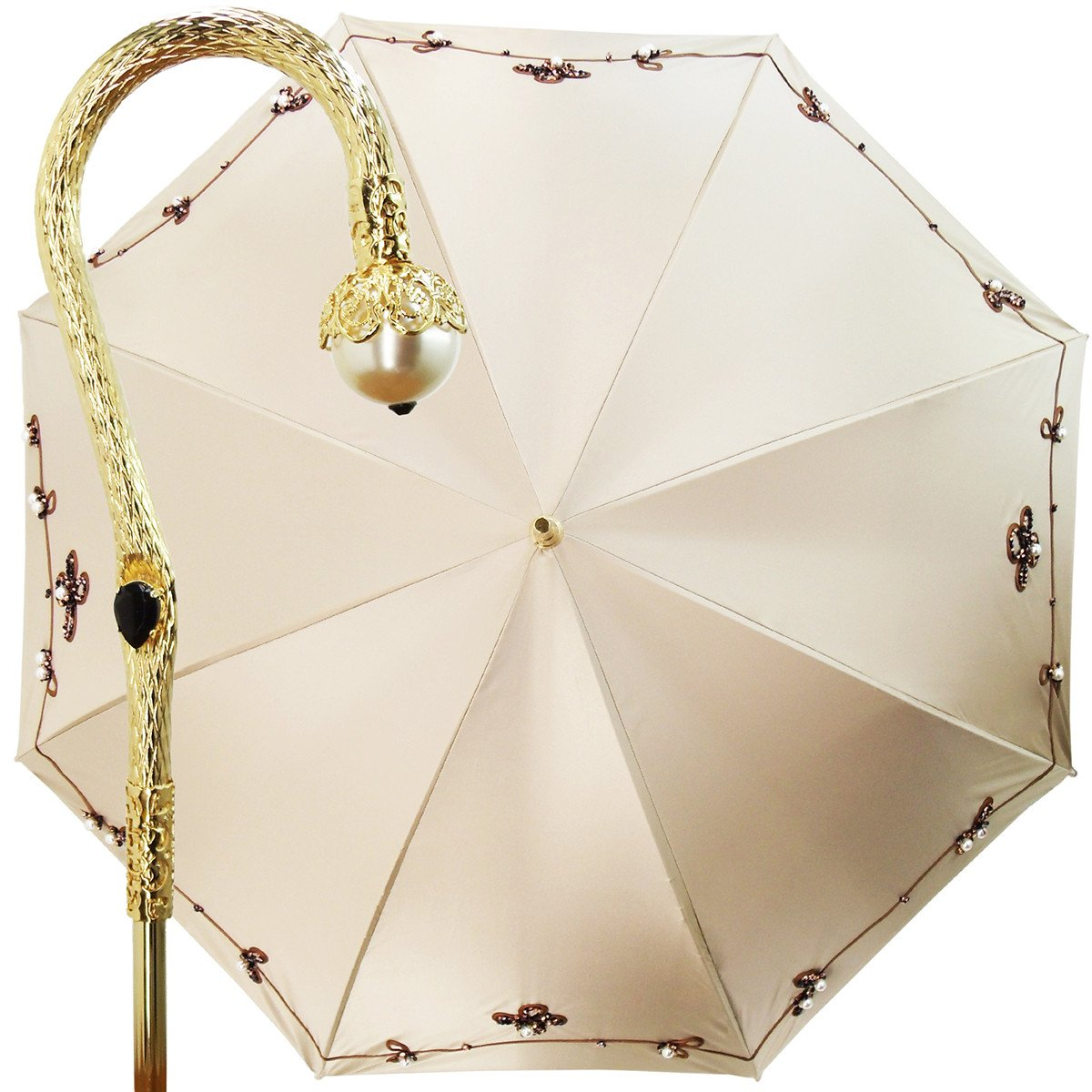 women's double cloth ivory and brown umbrella