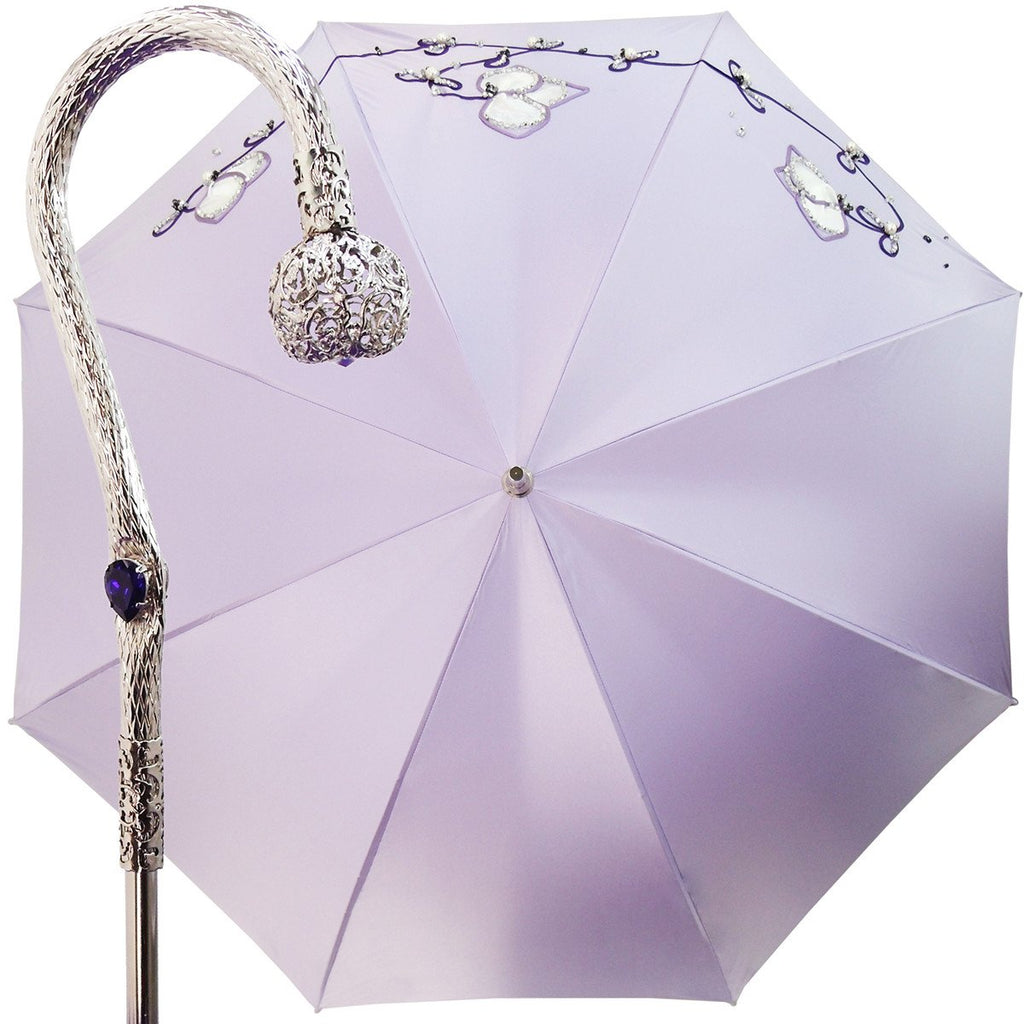 Beautiful Double Cloth Lilac Women's Umbrella, Italian style - il-marchesato
