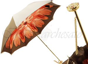 Superb Dahlia Double Canopy Umbrella Finished in a Luxurious Satin Polyester Fabric - il-marchesato