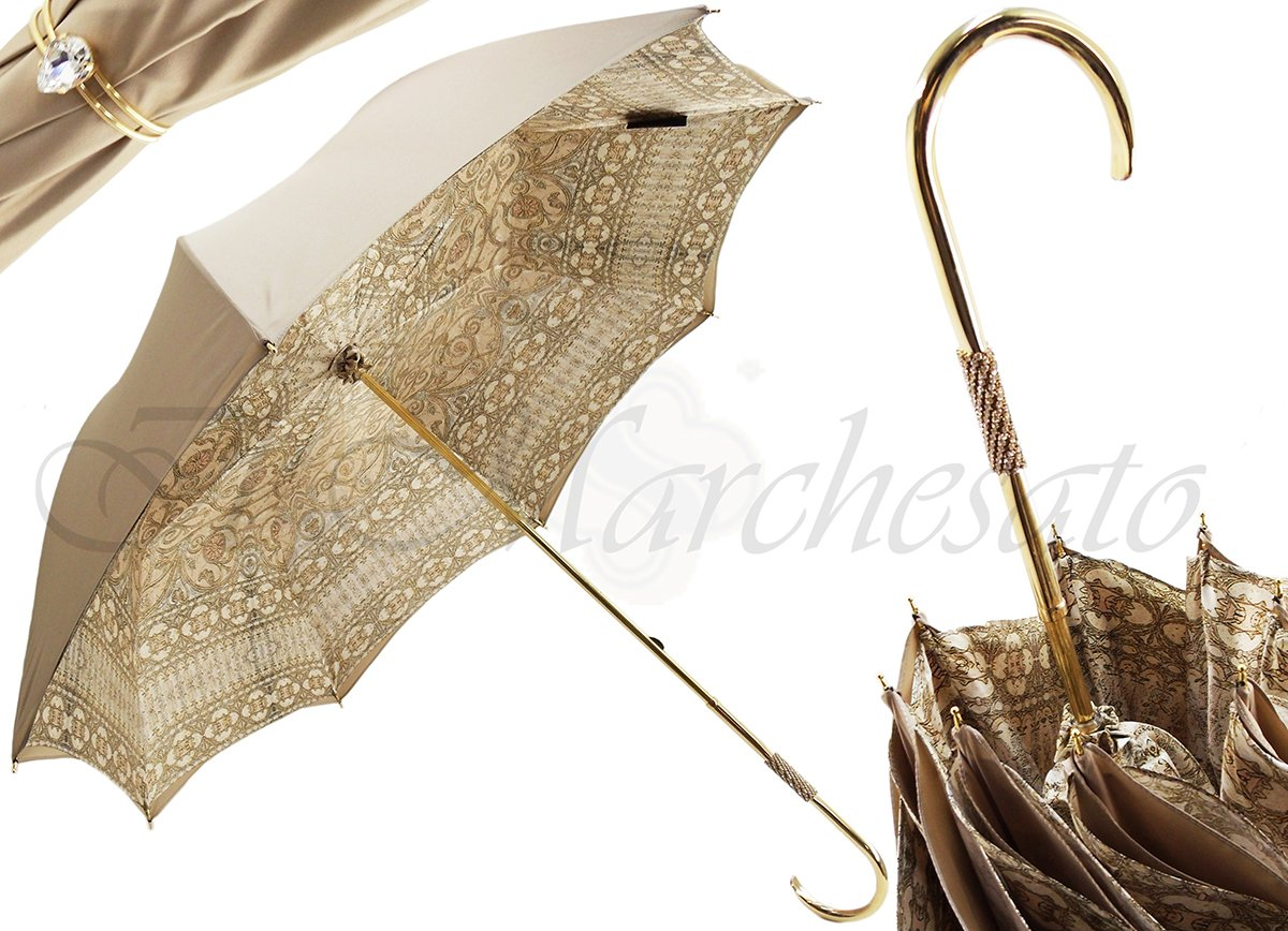 il Marchesato Luxury Ladies Double Cloth Umbrella Baroque Design - il-marchesato
