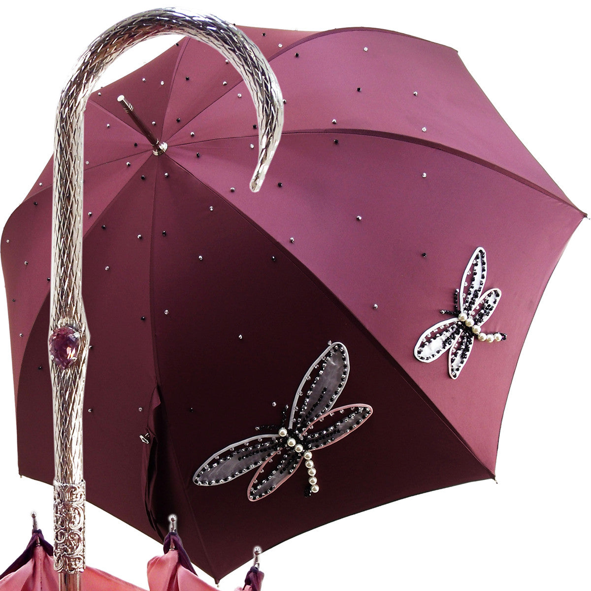 Women's exclusive handmade umbrella with embroidered dragonflies - il-marchesato