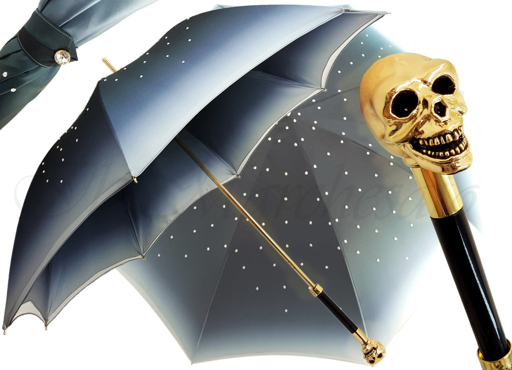 il Marchesato Gold Skull Umbrella - il-marchesato