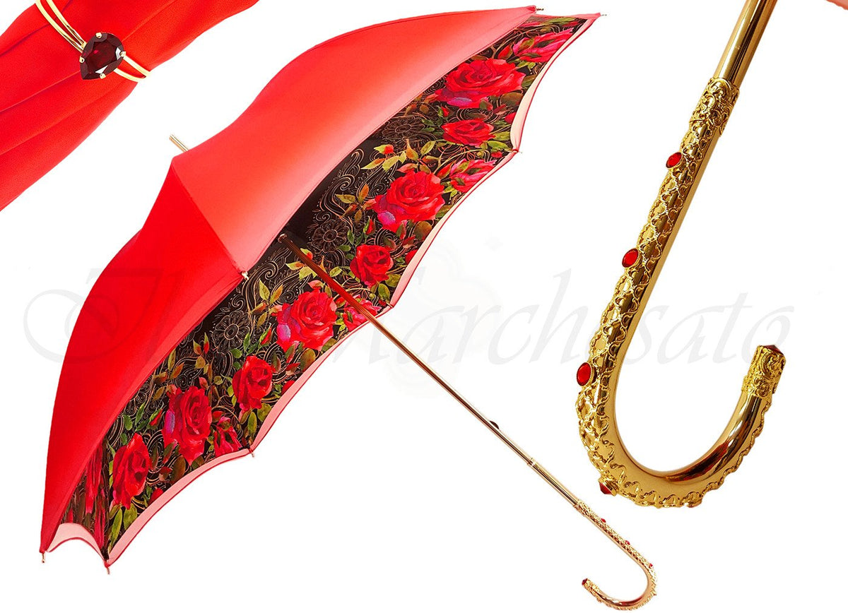 Orange Floral Umbrella, Double Canopy Luxury Ladies - il-marchesato