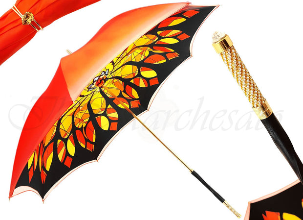 handcrafted jewel orange luxury umbrella