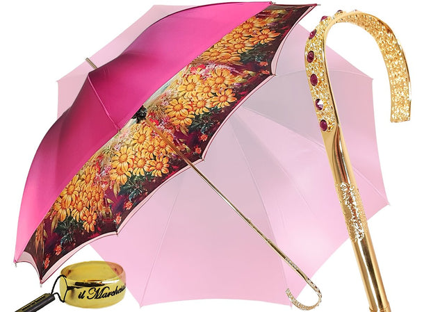 Lovely Fuchsia Shade Umbrella, New Flowered Exclusive By il Marchesato - il-marchesato