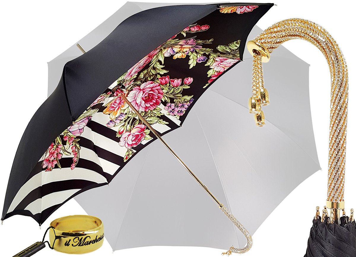 Adorable Umbrella With Double Fabric, Exclusive Floral Design By il Marchesato - il-marchesato