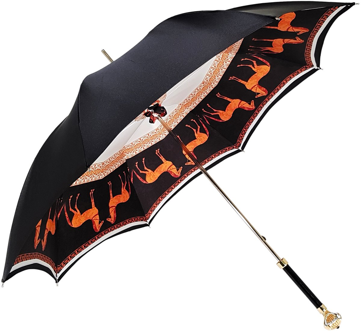 Double Cloth Women's Umbrella with Printed Horses Design - il-marchesato