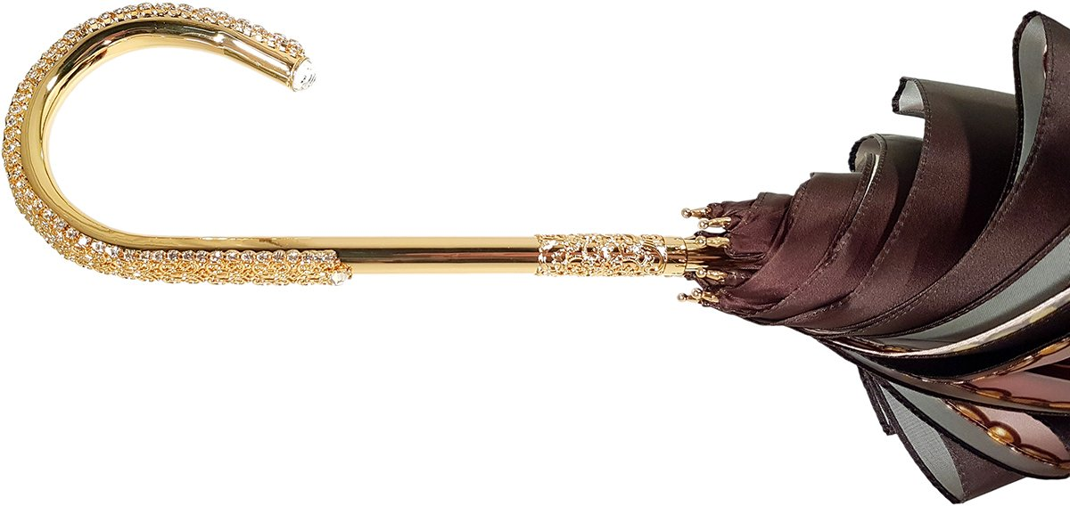 Charming Double Cloth Woman's Umbrella Exclusive Design by il Marchesato - il-marchesato