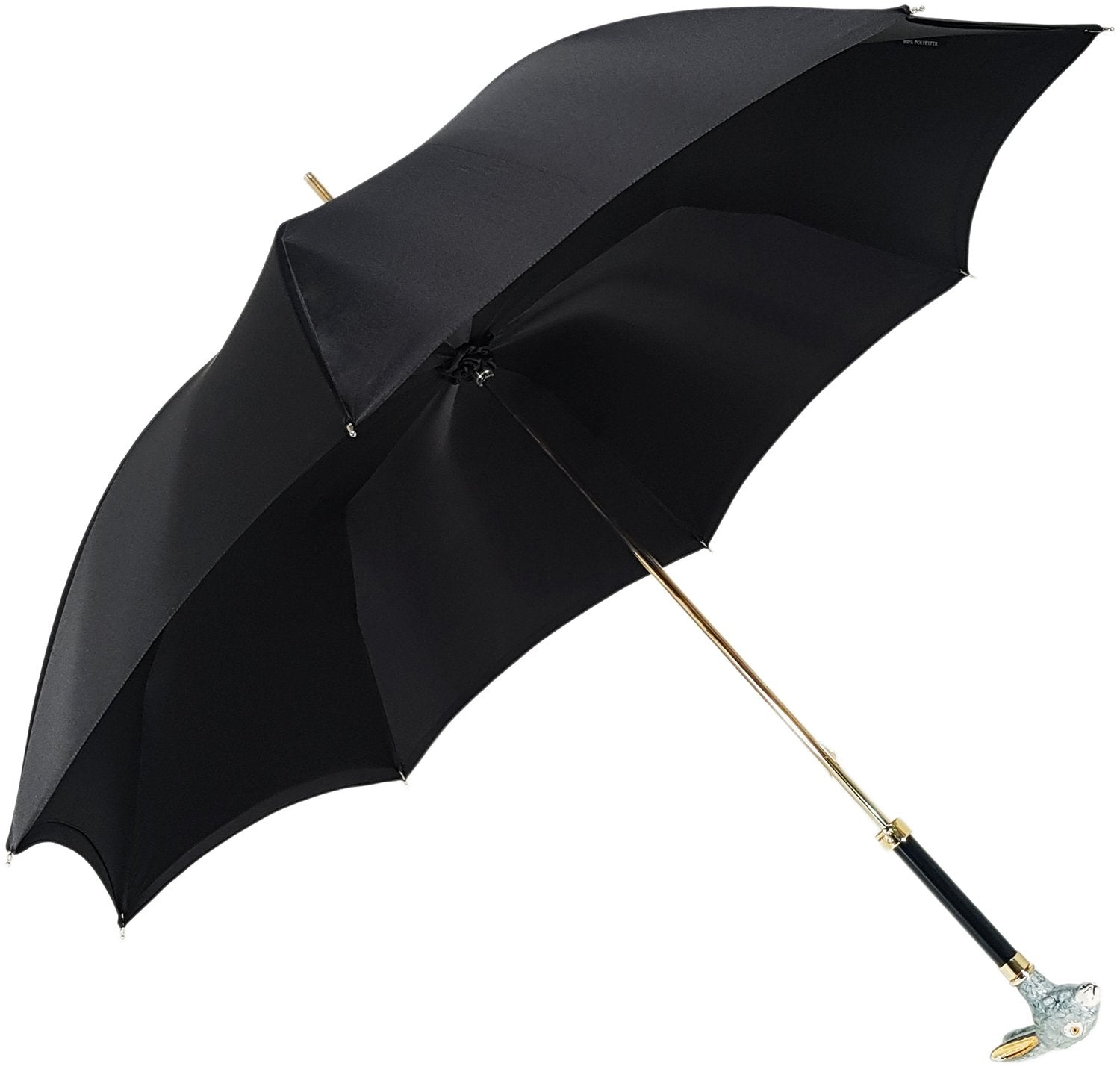 Elegant Umbrella With Double Layer In Black Satin - il-marchesato