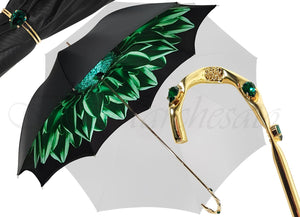 Beautiful Double Canopy Umbrella in a Luxurious Green Colored Polyester Satin - il-marchesato