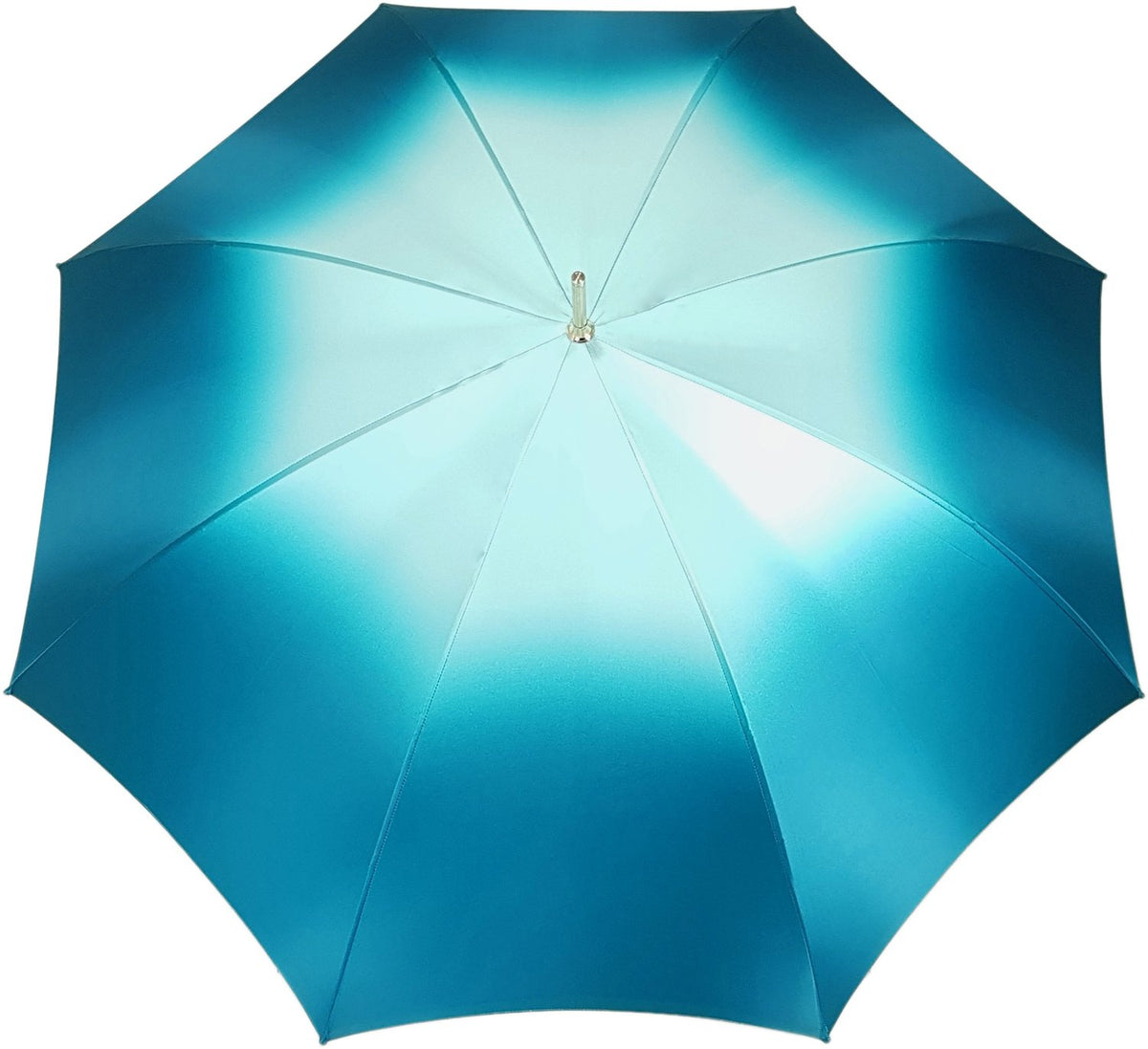Beautiful Double Canopy Umbrella in a Luxurious Turquoise Colored Polyester Satin