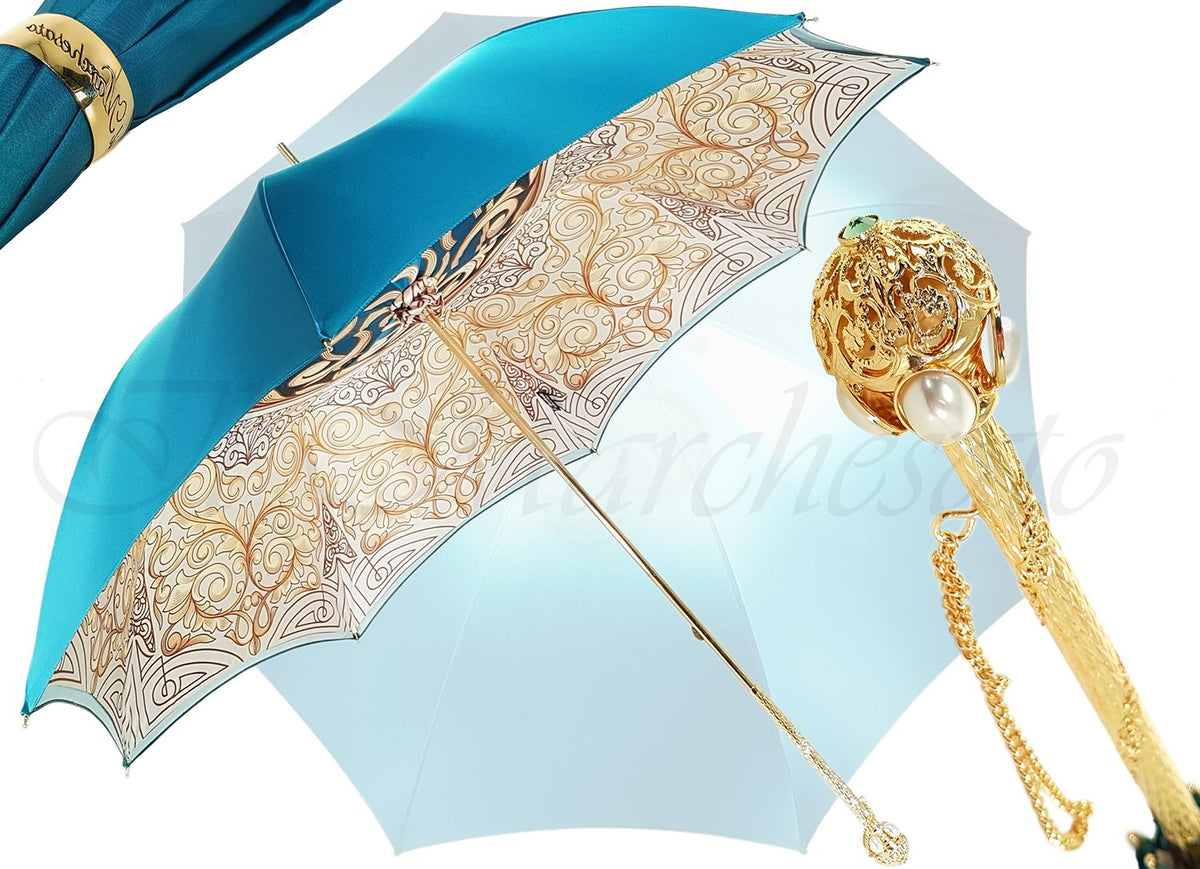 Beautiful Double Canopy Umbrella in a Luxurious Turquoise Colored Polyester Satin - il-marchesato