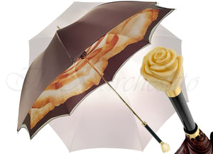 Double Cloth Women's Umbrella with Printed Rose Design - il-marchesato