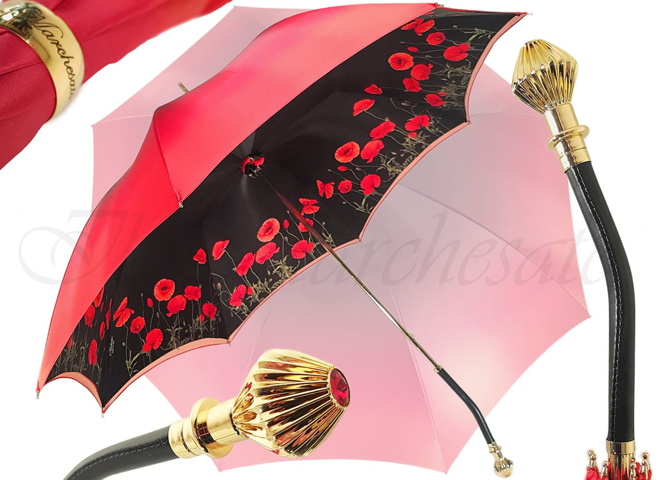 Lovely Red Shade Umbrella, New Flowered Exclusive By il Marchesato - il-marchesato