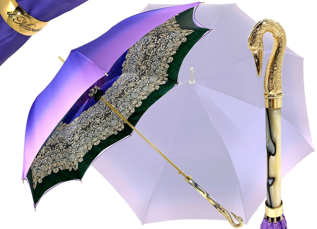 Gold plated 24K Swan on Purple lace design - il-marchesato