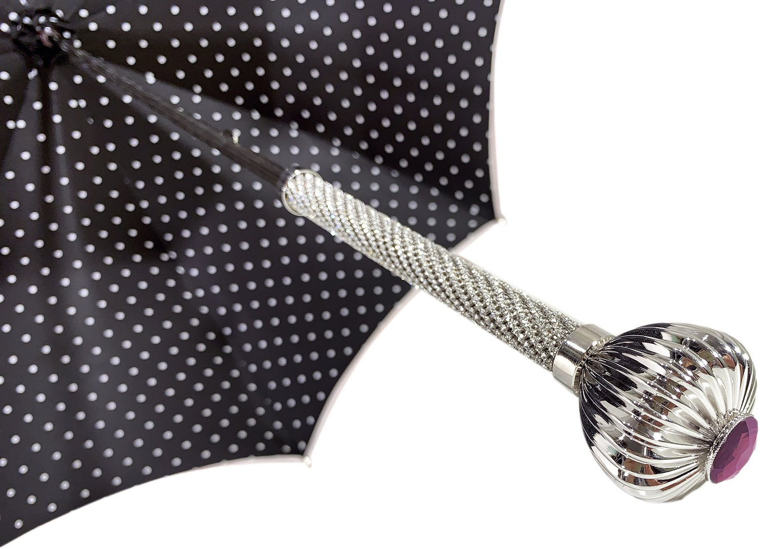 Il Marchesato Black and White Dots Print Women's Umbrella - il-marchesato