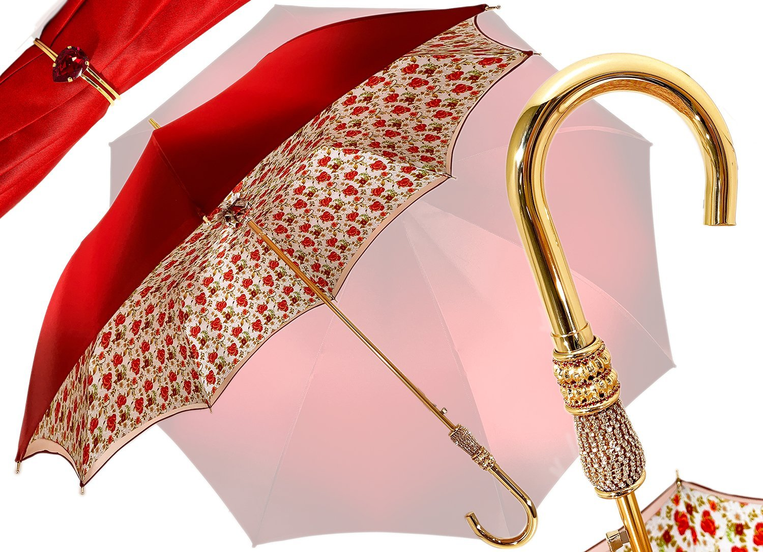 Il Marchesato Bright Red small roses Women's Umbrella - il-marchesato
