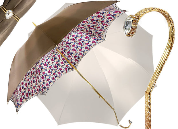 Il Marchesato Ivory with Flowered Interior Women's Umbrella - il-marchesato