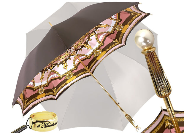 """Classic"" brown and pink, Chain design - Fantastic pearl handle - il-marchesato"