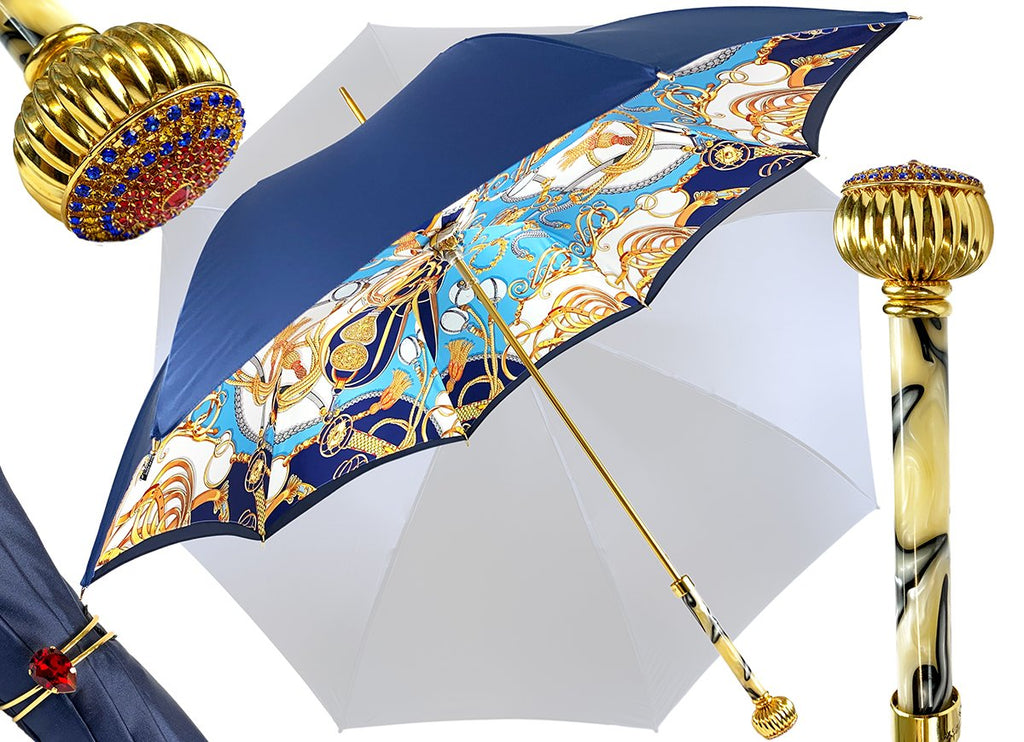 double cloth umbrella blue navi Marchesato