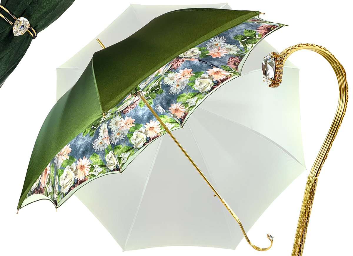 IL MARCHESATO GREEN FLOWERED UMBRELLA