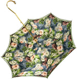 Carica l'immagine nel visualizzatore di Gallery, Elegant Green Floral Umbrella - IL MARCHESATO LUXURY UMBRELLAS, CANES AND SHOEHORNS
