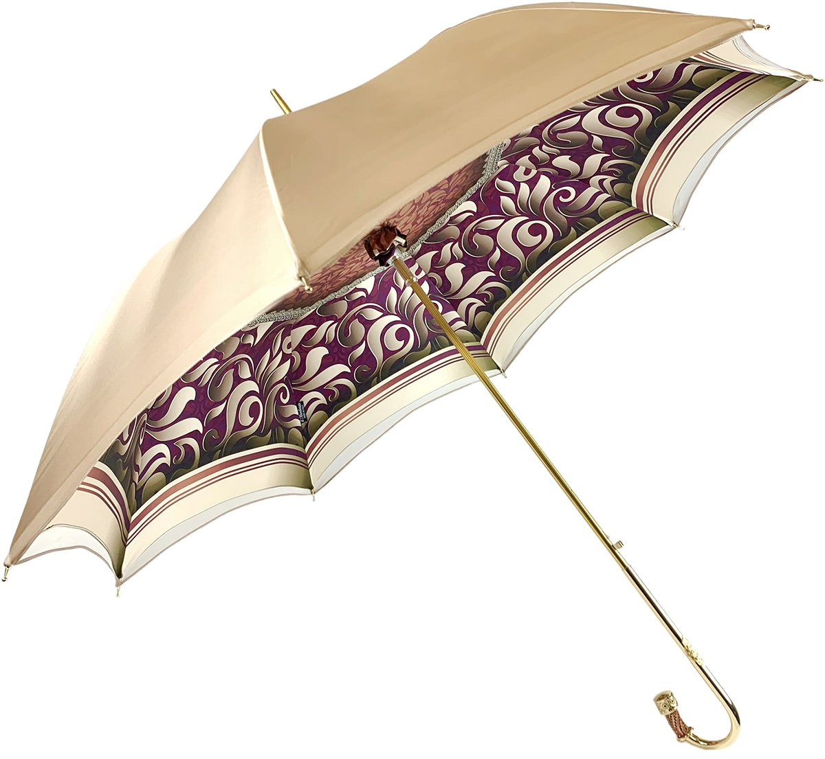 Handmade Cream Umbrella - Abstract Design - IL MARCHESATO LUXURY UMBRELLAS, CANES AND SHOEHORNS