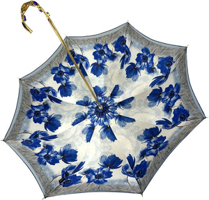 Blue Flowers Umbrella - IL MARCHESATO LUXURY UMBRELLAS, CANES AND SHOEHORNS