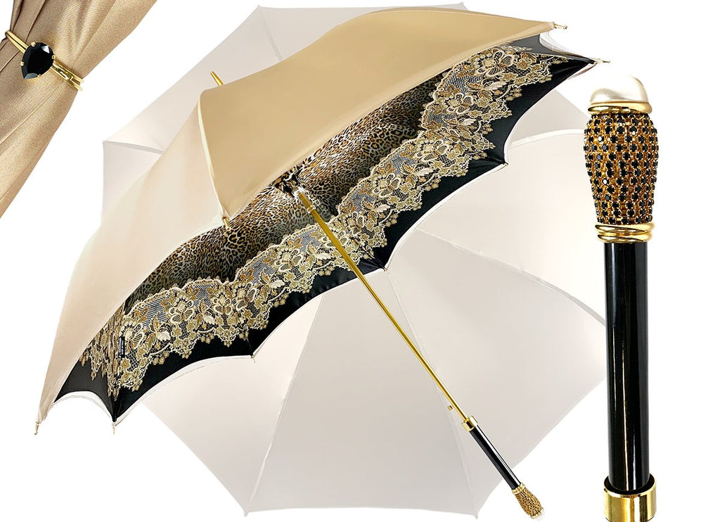 DOUBLE CLOTH CREAMY LEOPARD UMBRELLA