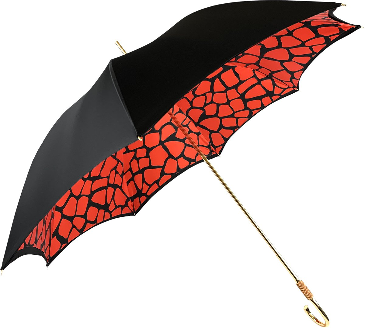 Black&Red Giraffe Print Pattern Inside - IL MARCHESATO LUXURY UMBRELLAS, CANES AND SHOEHORNS